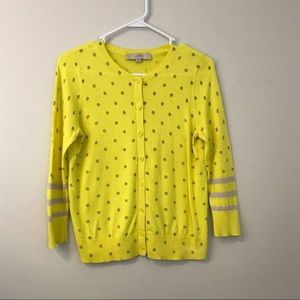 LOFT yellow polka dot button down cardigan small